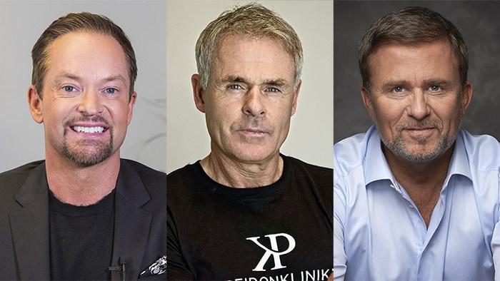 Andreas Carlsson, Anders Limpar och Jan Johansen har gjort hårtransplantation på Poseidonkliniken